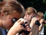 VBS students focus binoculars on a bird!
